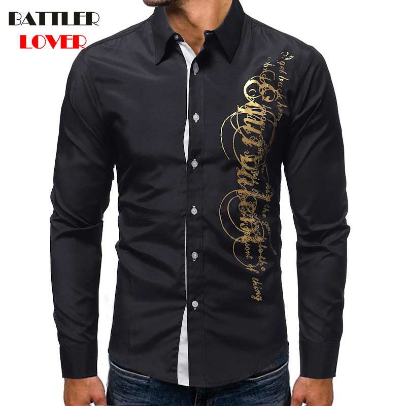 80caf969e 2018 Fashion Letter Printed Shirt Men Shirt Chemise Homme Long Sleeve  Shirts Casual Camisas Hombre Mens