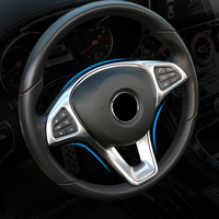 Refit ABS sticker steering wheel button trim decorative frame sticker accessories for Mercedes Benz W205 W213 GLA GLC E C Class