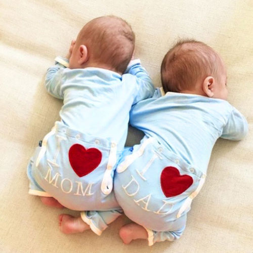 Six Bunnies Baby Playsuit Mom and Dad Hearts girls pink