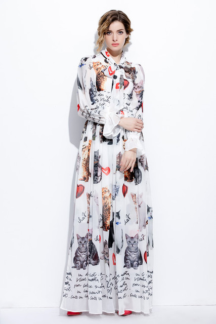be367ee5f9f Floor Length Dress New Fashion 2019 Spring Women Bow Collar Cute Cat Print  3 4 Sleeve Casual Long Maxi Dress Plus Size Big XXXXL