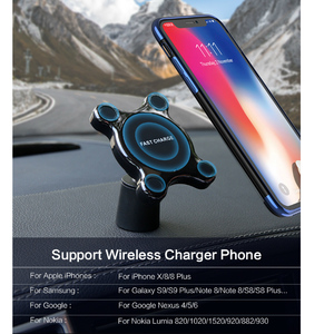 Image 4 - QI Wireless Car Charger Magnetic Quick Phone Mount Ultra Fast Qi Charging Pad Air Vent Mount  Charging Cradle For iPhone Samsung