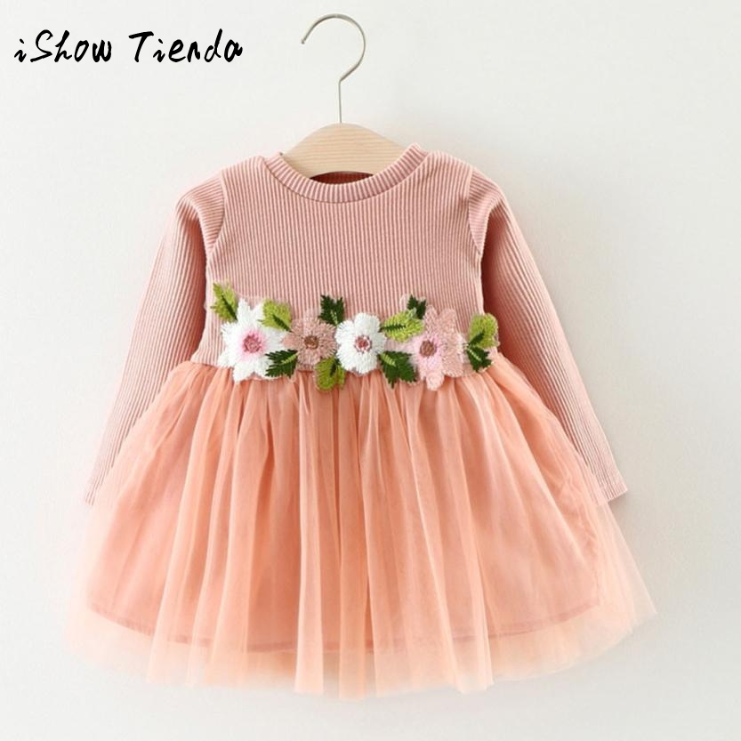 ISHOWTIENDA dress for Newborn Floral tulle dress vestido 1 ano childrens party dress for wedding first birthday outfit girl