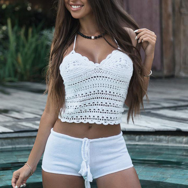 Crochet swimsuit cover-ups knitted swim suit Hollow out sexy bikini top Push up swimwear women cover up Beach