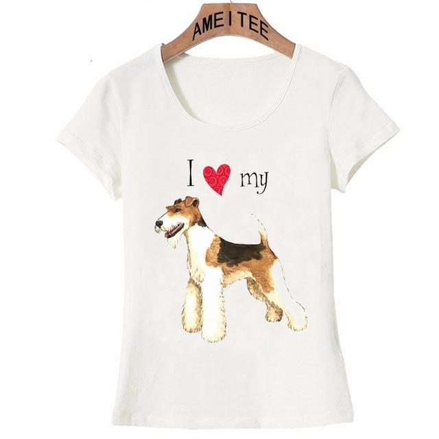 Amo mi Wire Fox Terrier camiseta 2018 verano moda mujer t-shirt mujer manga  corta ed3b275168d
