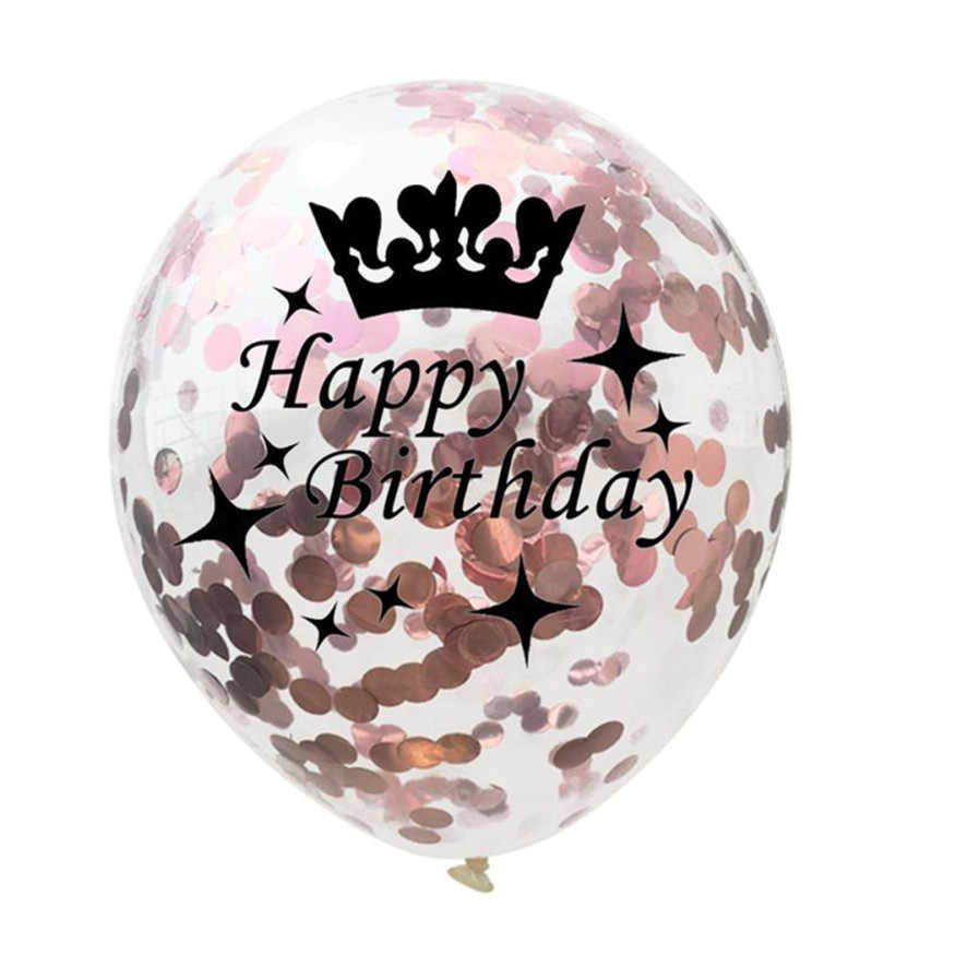 2018 New Birthday Party Balloon 5pcs 12 inch Rose Gold Series Foil Latex Balloon Set Helium Star Wedding Birthday Party Decor 15