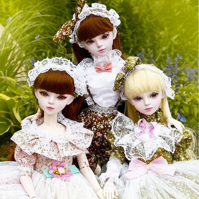 60CM Lolita Fashion Girls Bjd 1 3 Dolls Full Set Large 23 Jointed Original Handmade Doll