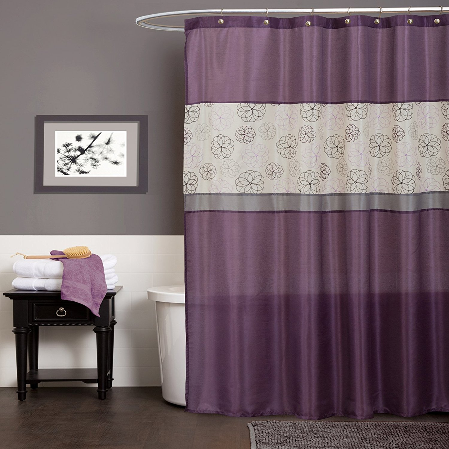 Lush Decor Covina Shower Curtain Purple Waterproof And Mildew Resistant Bathroom