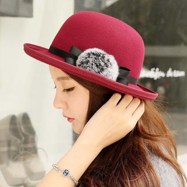 Británico retro cuerda sombrero de Las Mujeres de piel de conejo sombrero de lana sombrero de Otoño e invierno nuevo arco de la manera