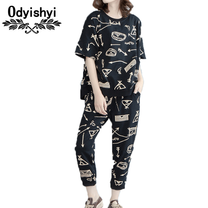 Summer Large size Women Two piece Set Printing Short sleeved Tops Pants Suits Pantsuit Loose Casual