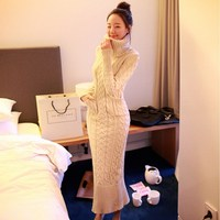 Free Shipping 2014 New Fashion Women Winter Autumn Sweater Dress Hight Quality Two Colors Black Beige