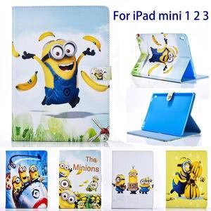 Minions Cartoon Dad Stand PU Leather Cover For Apple Ipad Mini 1 2 3