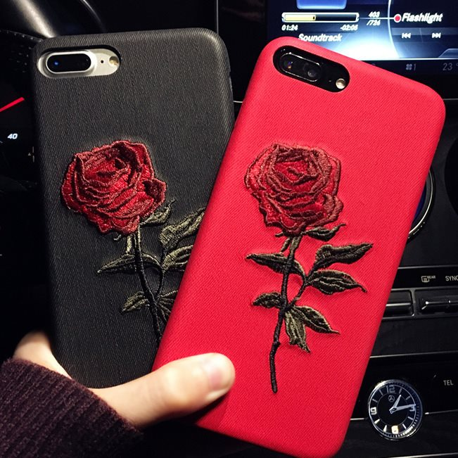 Apsudev Rose handgemachte Stickerei Telefon Fall Für <font><b>iphone</b></font> 7 8 Plus Für <font><b>iphone</b></font> <font><b>X</b></font> <font><b>XS</b></font> XR <font><b>XS</b></font> <font><b>Max</b></font> 6 6 Plus 6s Plus Weiche Mode Shell image
