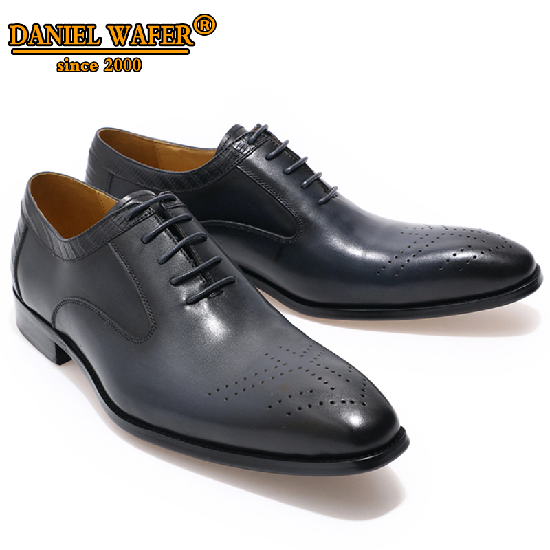 LUXURY BRAND OXFORDS MEN GENUINE LEATHER SHOES LACE UP OFFICE WORK WEDDING SHOES BROGUES FORMAL POINTED TOE OXFORDS BLACK SHOELUXURY BRAND OXFORDS MEN GENUINE LEATHER SHOES LACE UP OFFICE WORK WEDDING SHOES BROGUES FORMAL POINTED TOE OXFORDS BLACK SHOE