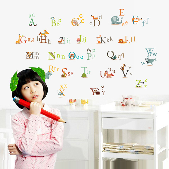 New PVC Early Learning Animal wall decal ABC Letter wall sticker for baby  26 letter stickers