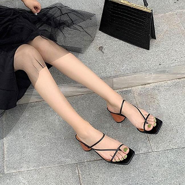 HTB13RnkbBCw3KVjSZR0q6zcUpXaR MONMOIRA Wood Heel Slipper Women's Sandals Vintage Square Toe Narrow Band High Heel Sandals Women Summer Shoes Women SWC0713
