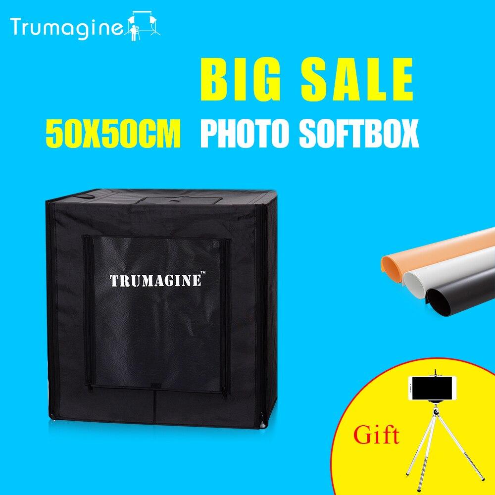 TRUMAGINE 50*50*50 CM Photo Studio Softbox Lightbox Lumière Tente Photograghy Soft Box Kit Pour Appareil Photo REFLEX NUMÉRIQUE