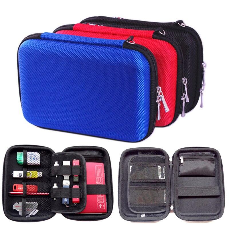 """Přenosný obdélník náměstí digitální příslušenství Cestovní úložná taška pro 2,5 """"pevný disk, U Disk, nabíječka, mini Gadget Pocket"""