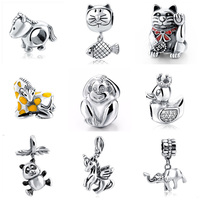 2017 New Authentic 925 Sterling Silver Original Monkey Cat Horse Charm Beads Fits Pandora Charm Bracelet