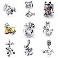 2017 New Authentic 925 Sterling Silver Original Monkey Cat Horse Charm Beads Fits Pandora Charm Bracelet