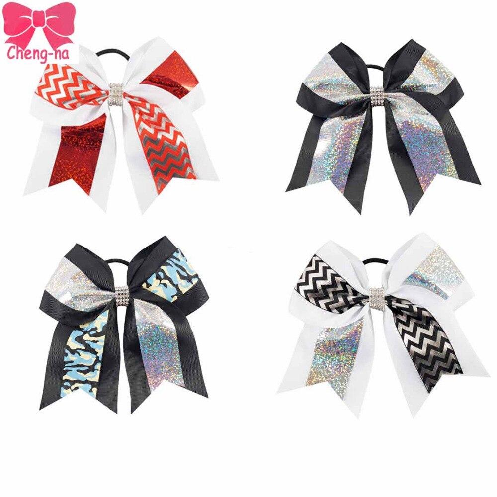 Ha hair bow ribbon wholesale - 4pcs Lot 7 Chevron Cheer Bow With Elastic Hair Ties Cheerleading Hair Bow Dance