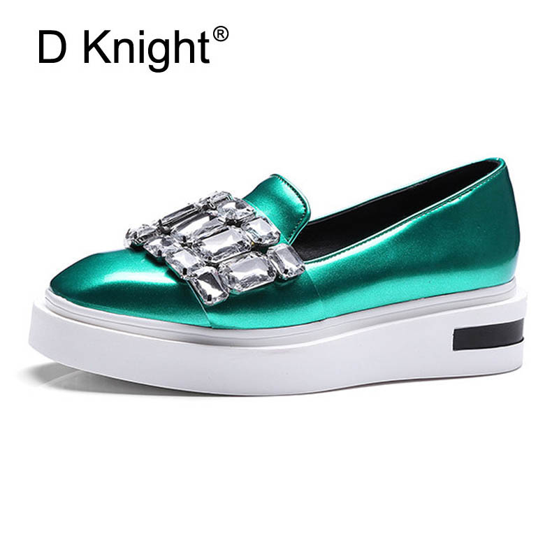 Crystal Loafers Square Toe Platform Shoes Woman 2017 Rhinestone Creepers Slip On Flats New Casual Women Shoes Green Pewter D39  qmn women genuine leather flats women horsehair loafers retro square toe slip on flat platform shoes woman creepers 34 42