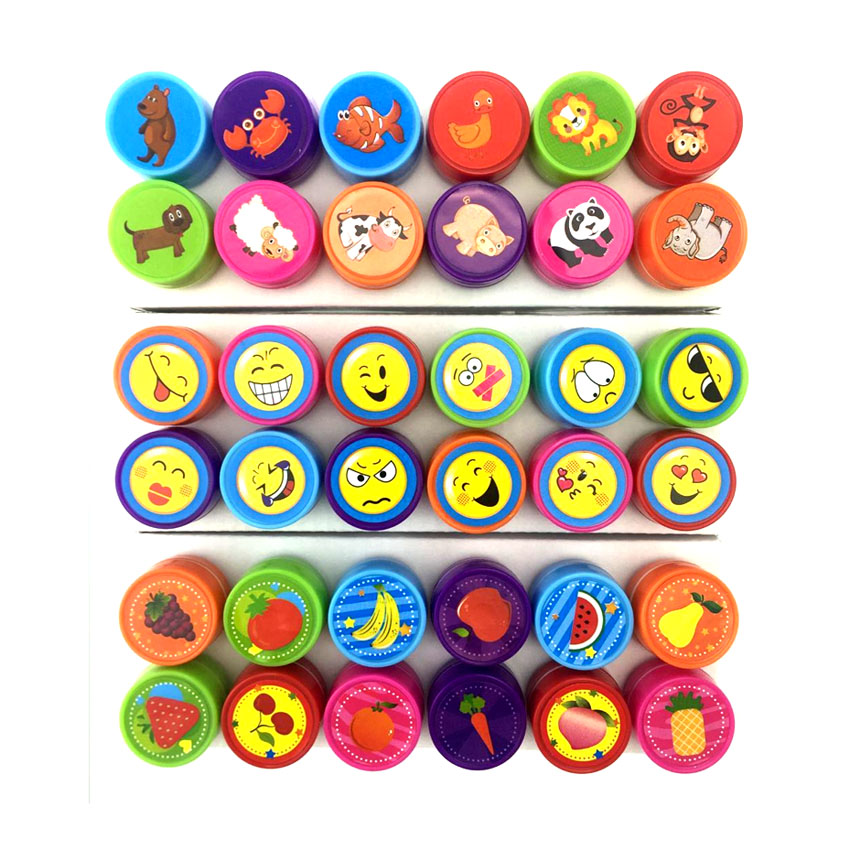 12 Pcs/Set Cartoon Animals Stamp Children Emoji Toy Stamper DIY Diary Decorative Painting Scrapbooking Drawing Toy Gift diy gift transparent silica gel stamp acrylic pad diy scrapbooking color process essential tools coloring helper 10x10cm
