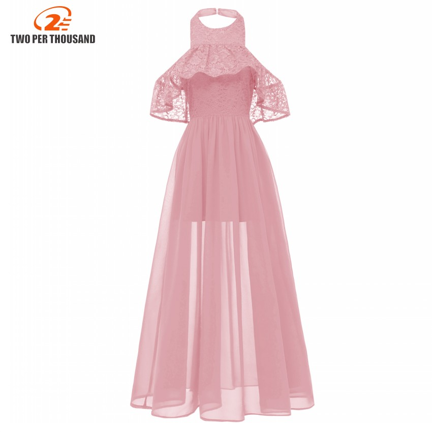 Buy Women See Chiffon Maxi Dress Halter Neck Elegant Lace Long Dress Sexy Evening Party Dresses Chiffon Vestidos