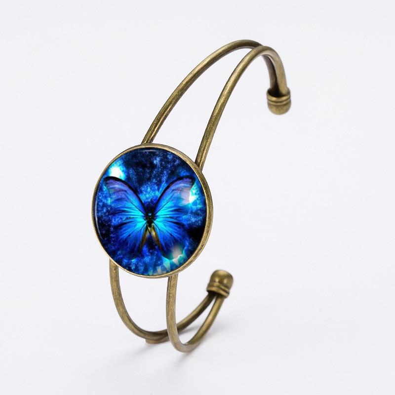 Cute Butterfly Glass Cabochon Charm Bracelets For Women Jewelry Size Adjustable Open Bracelets Cuff Bracelets Black Friday 2016