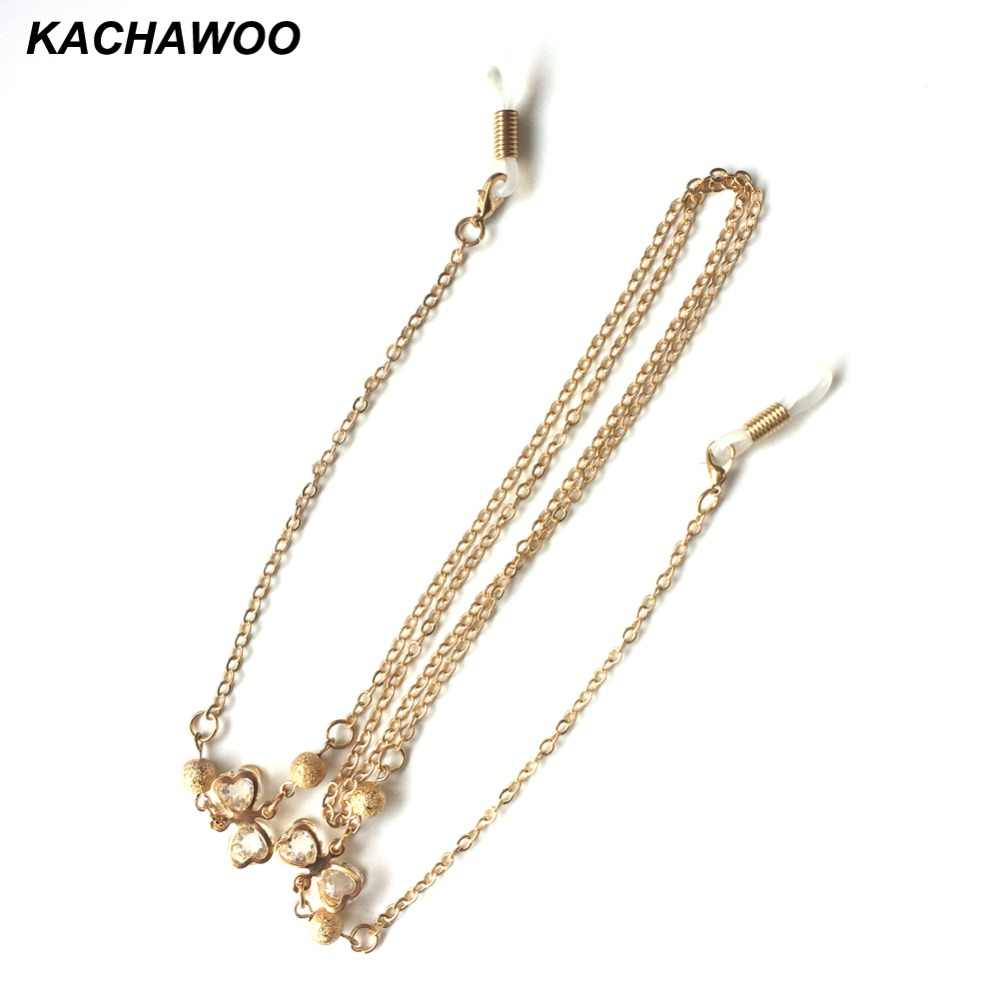 Kachawoo women reading glasses chain gold metal elegant crystal rope chain necklace for glasses accessories ropes wholesale