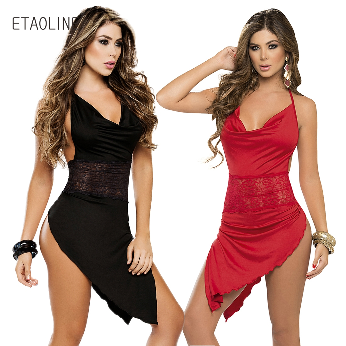 ETAOLINE 2018 Sexy Deep V-Neck Lingerie Women Balck Perspective Gauze Lace Splice Chemise&Babydoll Erotic Lingerie Sexy Costumes
