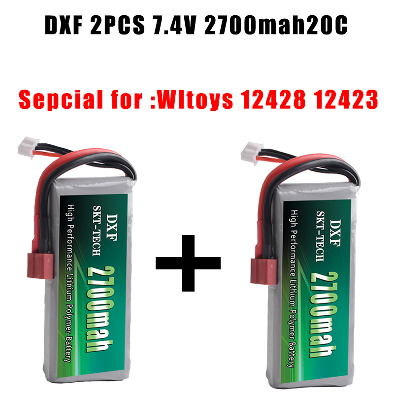 DXF 2PCS RC Lipo Battery 2S 7.4V 2700mah 20C Max 40C for Wltoys 12428 12423 1:12 RC Car Spare parts front diff gear differential gear for wltoys 12428 12423 1 12 rc car spare parts
