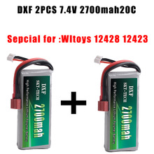 DXF 2PCS RC Lipo батерия 2S 7.4V 2700mah 20C Max 40C за Wltoys 12428 12423 1:12 RC Car Резервни части