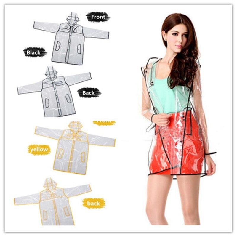 2017 HOT sale Womens Girls Transparent Rain Coat PVC Vinyl Hooded Runway Style Clear Fashion Rain