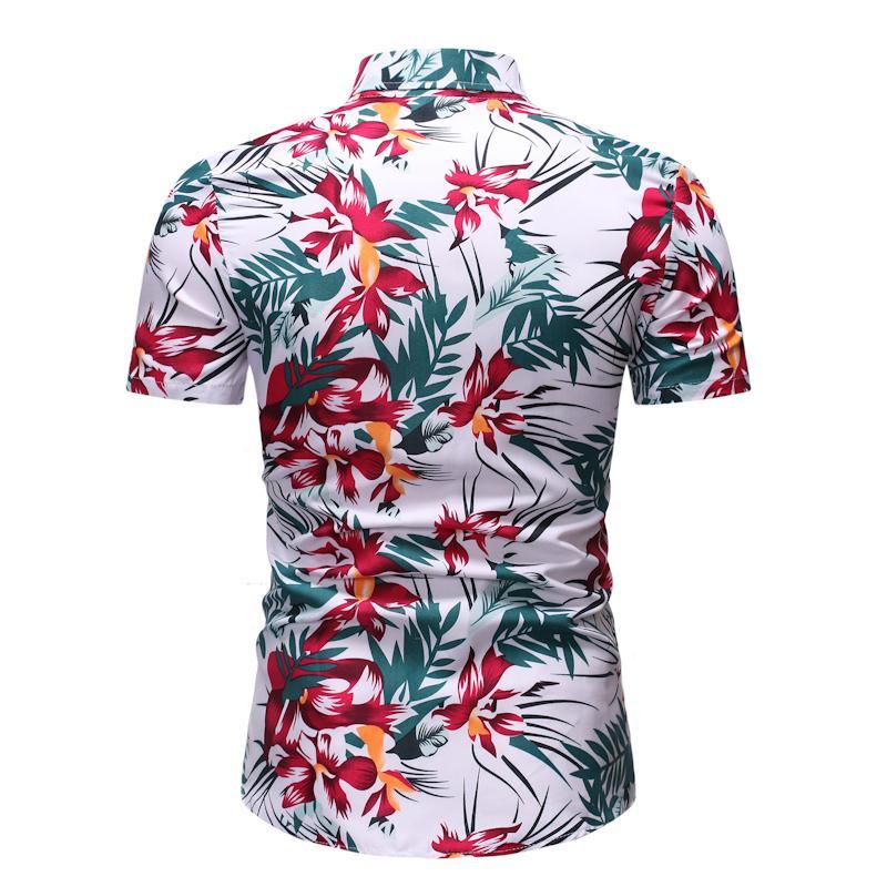 Casual Floral Men's Shirt Dress Short Sleeve Flower Hawaiian Shirt For Men Summer Blouse Men Ready Stock Fashion