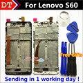 Высокое Качество Сенсорного Экрана Digitizer + ЖК-Дисплей Замена Для Lenovo S60 S60W Телефон 1280*720 Черный Белый С Рамкой Подарки