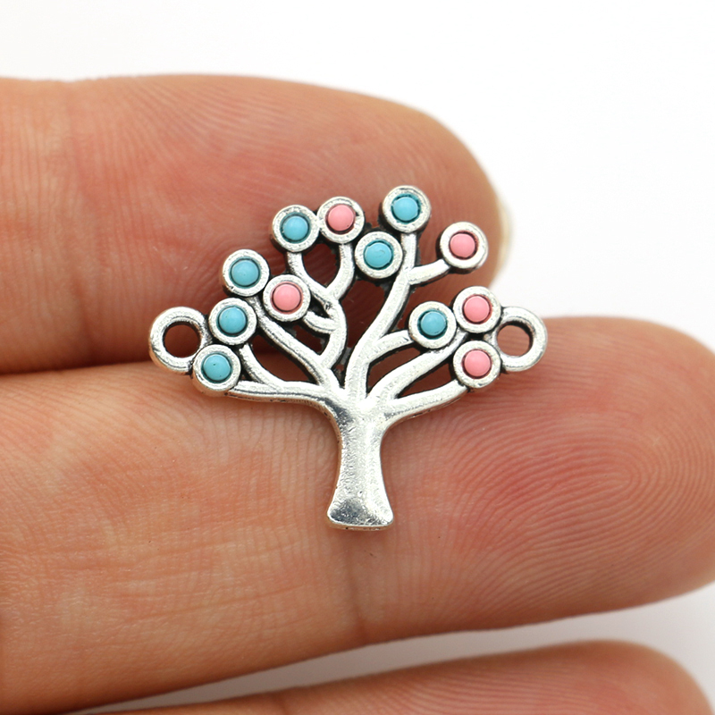 JAKONGO Antique Silver Plated Crystal Tree Of Life Connectors For Making Bracelet Handmade DIY Jewelry Accessories 20x22mm 5pcs