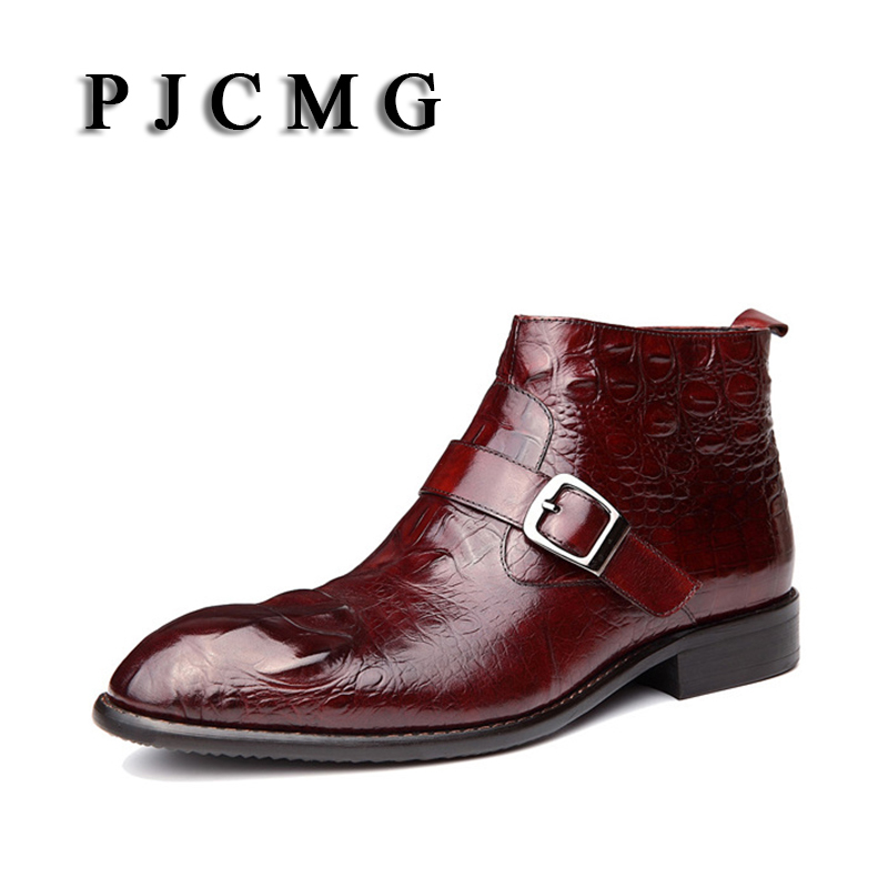 New Fashion High Quality Black/Red Wine Crocodile Pattern Breathable Slip-On Genuine Leather Pointed Toe Oxford Boots For Men