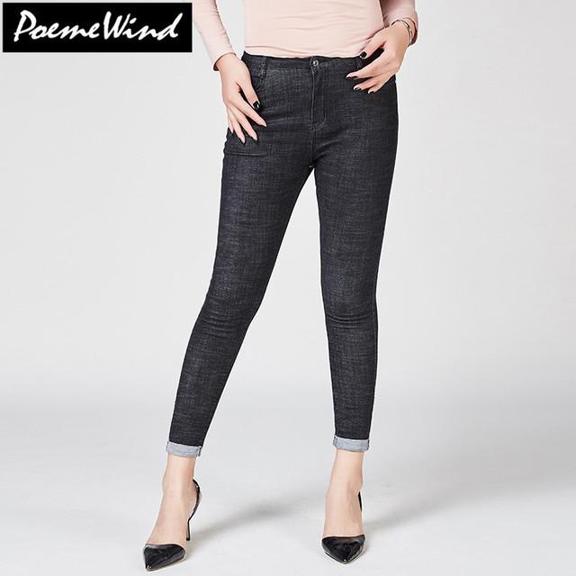 PoemeWind Plus Size Women High Waist Mom Jeans Femme Cuffs Stretch Skinny Denim Jeans For Women Trousers Mujer 38 40 42 6XL 7XL