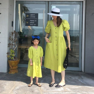 Image 5 - Baby Princess Dress Girls Dress Kids Summer Dress 2020 New Cotton Lantern Sleeve Mother and Me Cute Dress Retro V neck,#5266