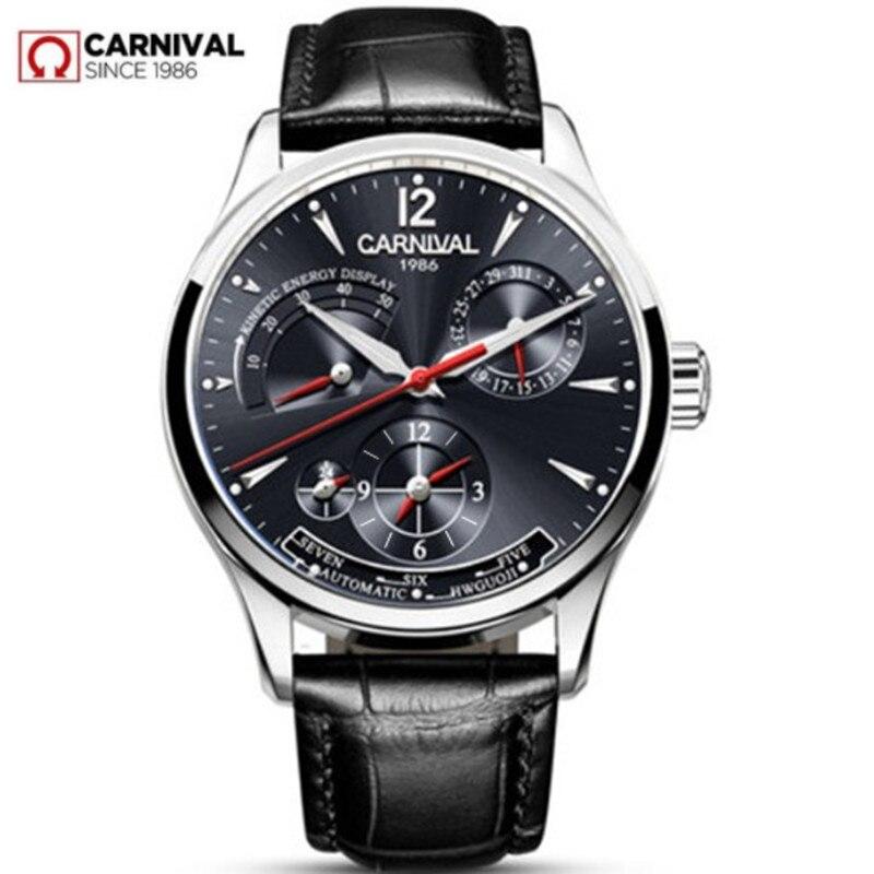 CARNIVAL สวิตเซอร์แลนด์นาฬิกาผู้ชาย Top ยี่ห้อ luxury Multifunction Automatic Mechanical นาฬิกาผู้ชาย Men กันน้ำส่องสว่างนาฬิกา montre-ใน นาฬิกาข้อมือกลไก จาก นาฬิกาข้อมือ บน   1
