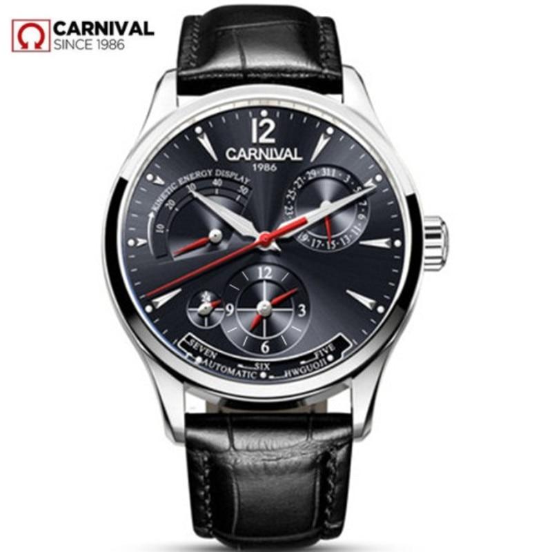 CARNIVAL switzerland Men Watch Top brand luxury Multifunction Automatic Mechanical watches Waterproof Luminous clocks montre