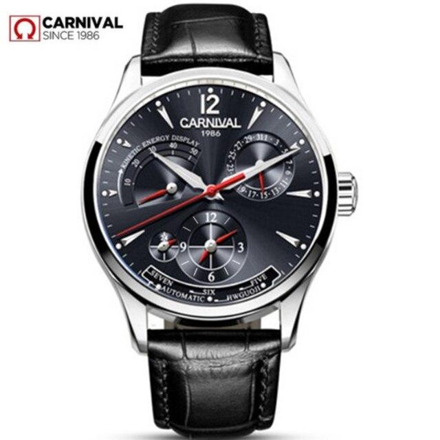 CARNIVAL switzerland Men Watch Top brand luxury Multifunction Automatic Mechanical watches Men Waterproof Luminous clocks montre
