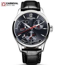 Carnaval suisse hommes montre haut marque de luxe multifonction automatique mécanique montres hommes étanche lumineux horloges montre