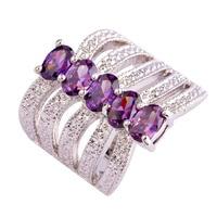 lingmei Wholesale Cocktail Wedding Oval Cut Amethyst 925 Silver Ring Size 6 7 8 9 Romantic Love Style Purple Jewelry Free Ship