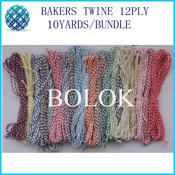 free shipping 30 color choose 30pcs/lot baker twine 12ply 10yards/bundle used in wrapping tag, gift cards,hanging tag