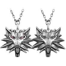 Men's Witcher Wizard Zinc Alloy Wolf Head Pendant Wild Hunt Medallion Retro Necklace