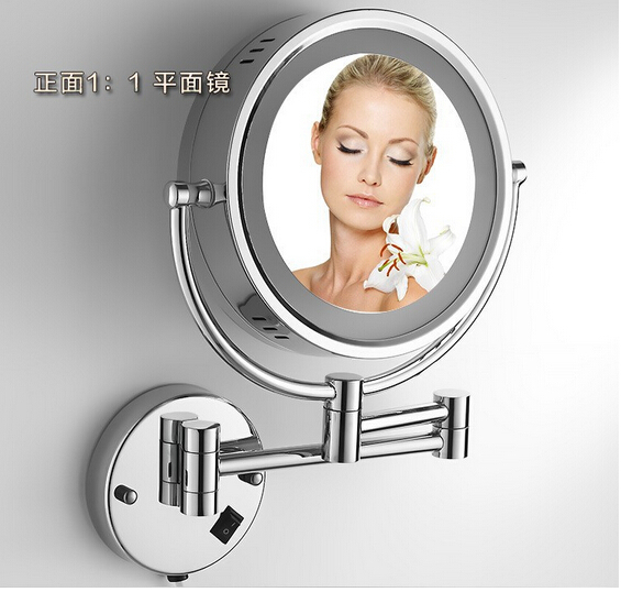 Bathroom Wall Mounted 8 inch Brass 3X/1X Double face Magnifying Mirror LED Light Folding Makeup Mirror Cosmetic Mirror Lady Gift brass wall mounted ribbon lamp 8 5 round double side cosmetic mirror silver 220v page 8