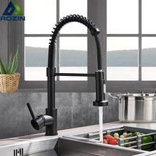 Rozin preto fosco torneira da cozinha deck montado toque mixer 360 graus de rotação fluxo pulverizador bico pia da cozinha quente e fria torneiras