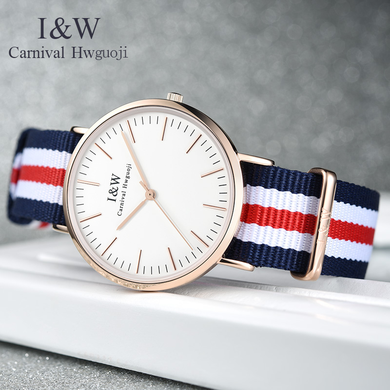 цена на Carnival iw couple watches women's watch quartz watch canvas fashion trend waterproof student table men's watch cloth with simpl