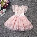 Alta calidad de las muchachas atan el vestido de verano de manga corta vestido de boda de la princesa de los niños visten 1-5 años de edad